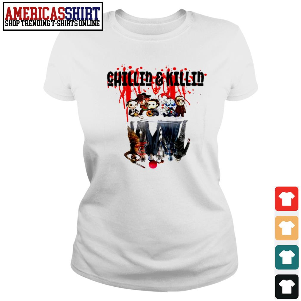 Halloween horror movies characters chibi chillin and killin water reflection mirror s ladies-tee