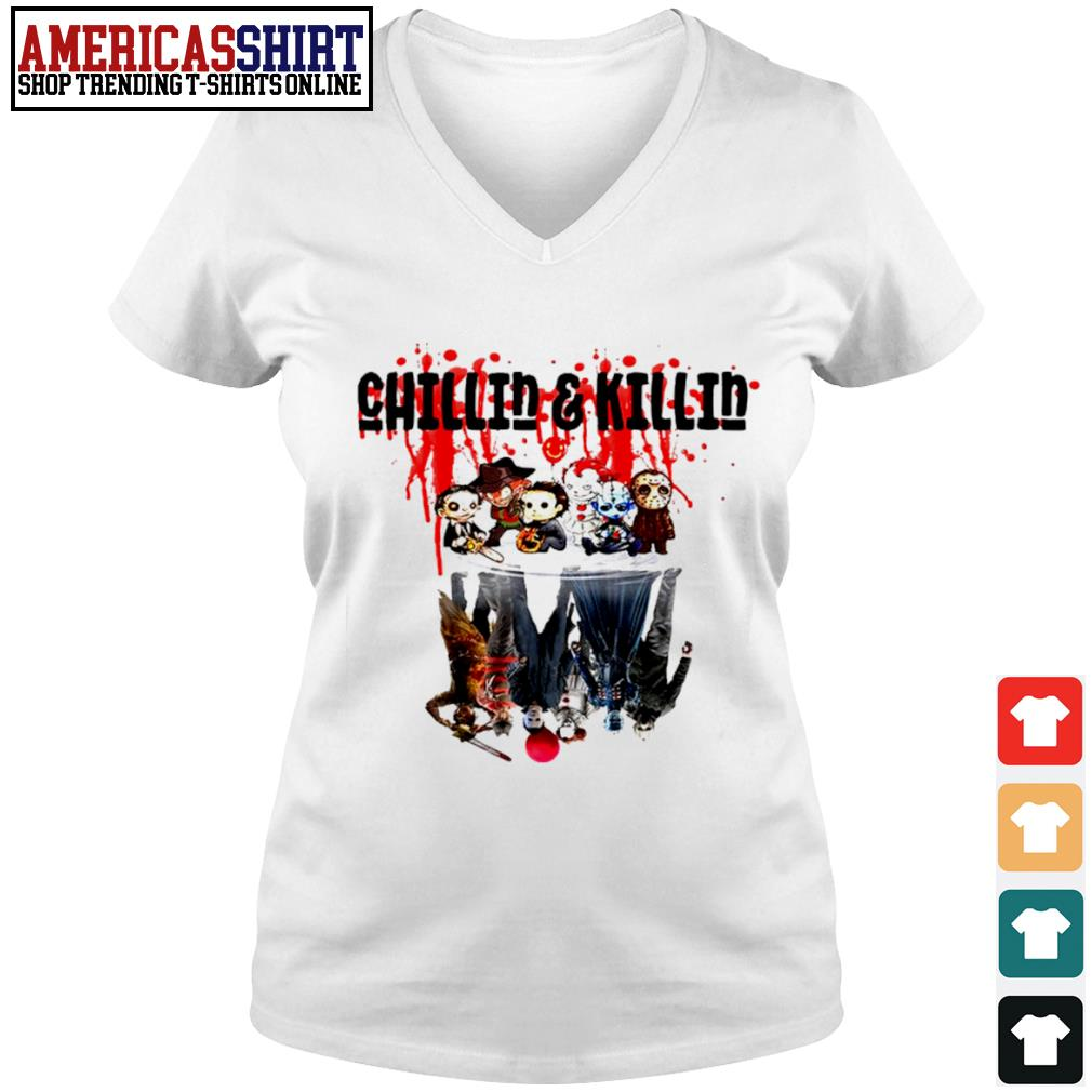Halloween horror movies characters chibi chillin and killin water reflection mirror s v-neck t-shirt