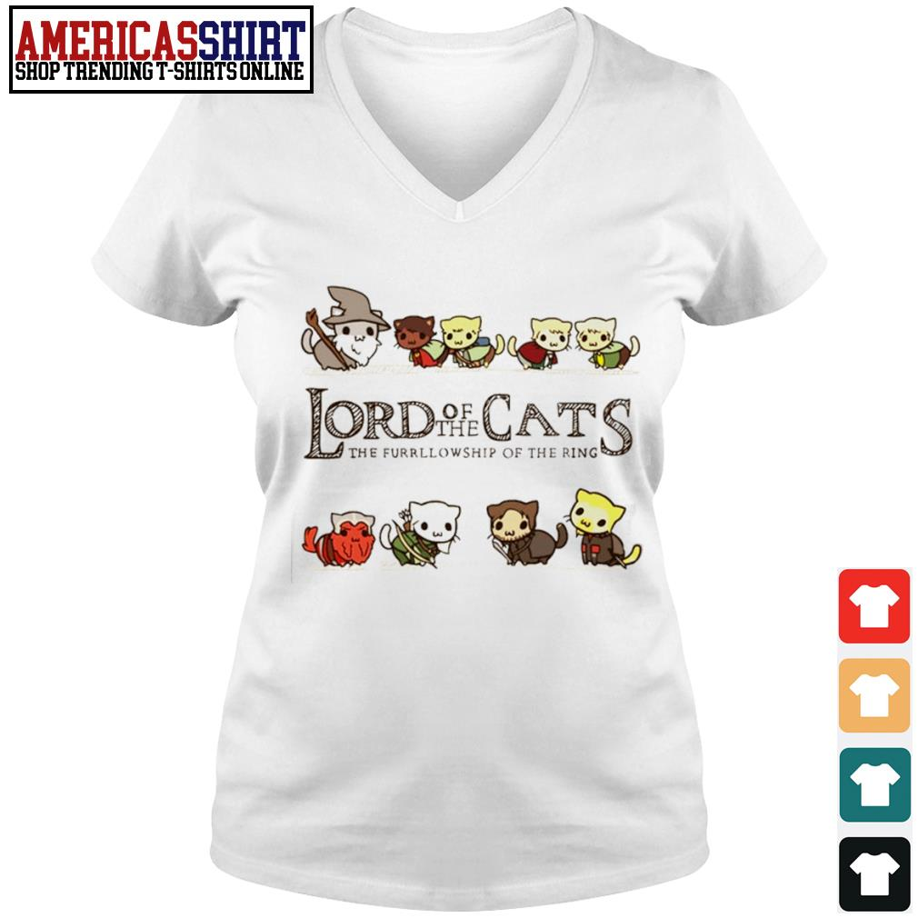 Lord of the Cats the fellowship of the ring s v-neck t-shirt