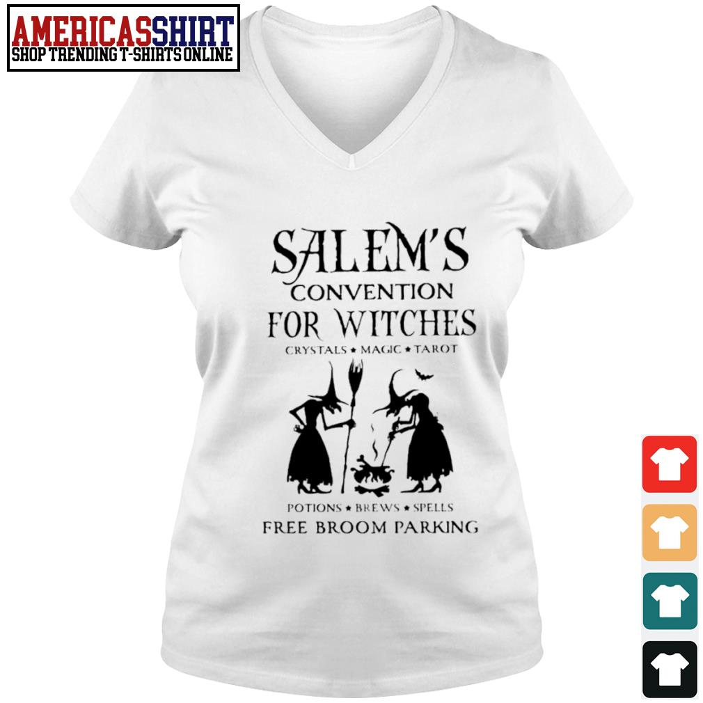 Salem's convention for Witches crystals magic tarot potions brews spells free broom parking s v-neck t-shirt