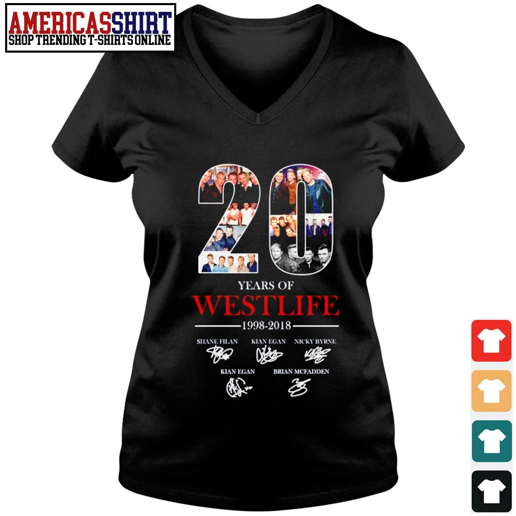20 years of Westlife 1998 2018 signature s v-neck t-shirt