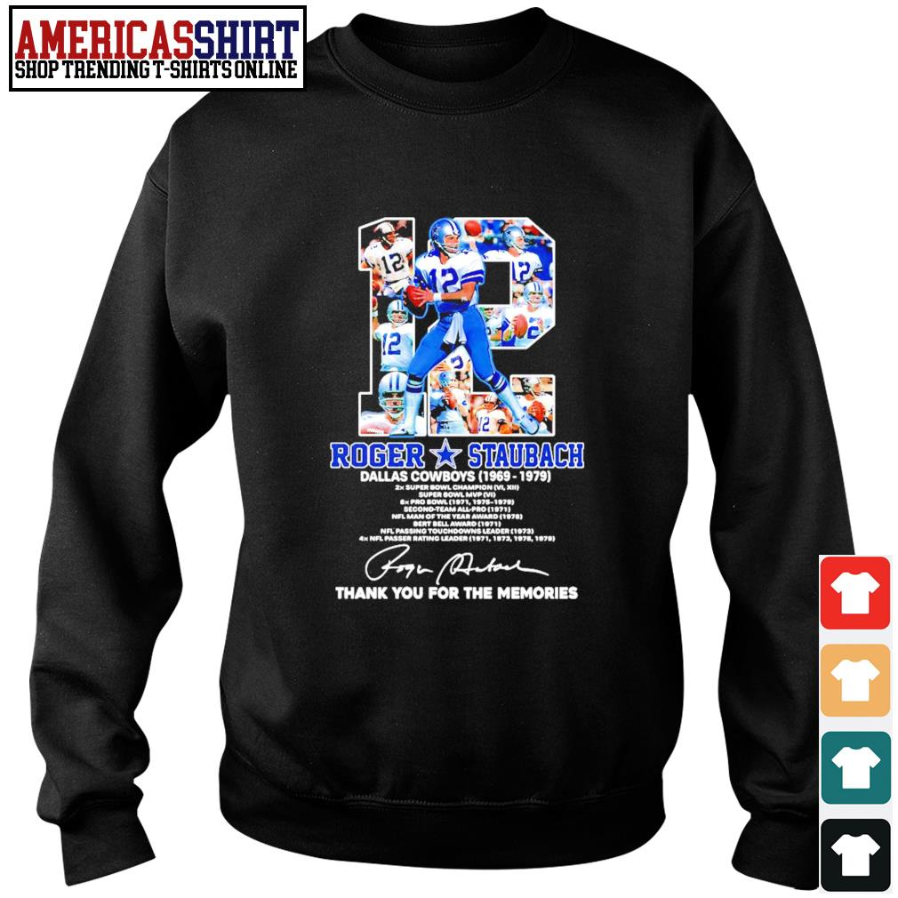 12 Roger Staubach Dallas Cowboys 1969 1979 thank you for the memories s sweater