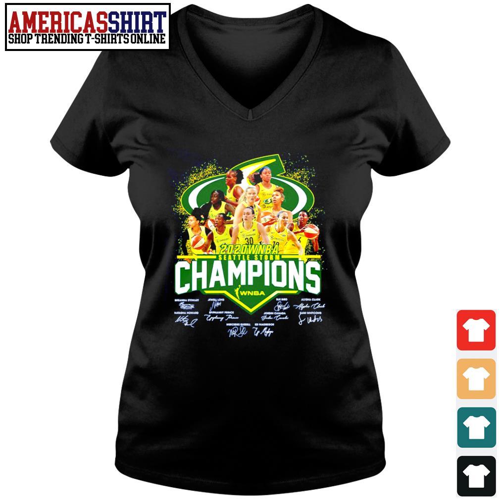 2020 WNBA Seattle Storm Champions WNBA signature s v-neck t-shirt
