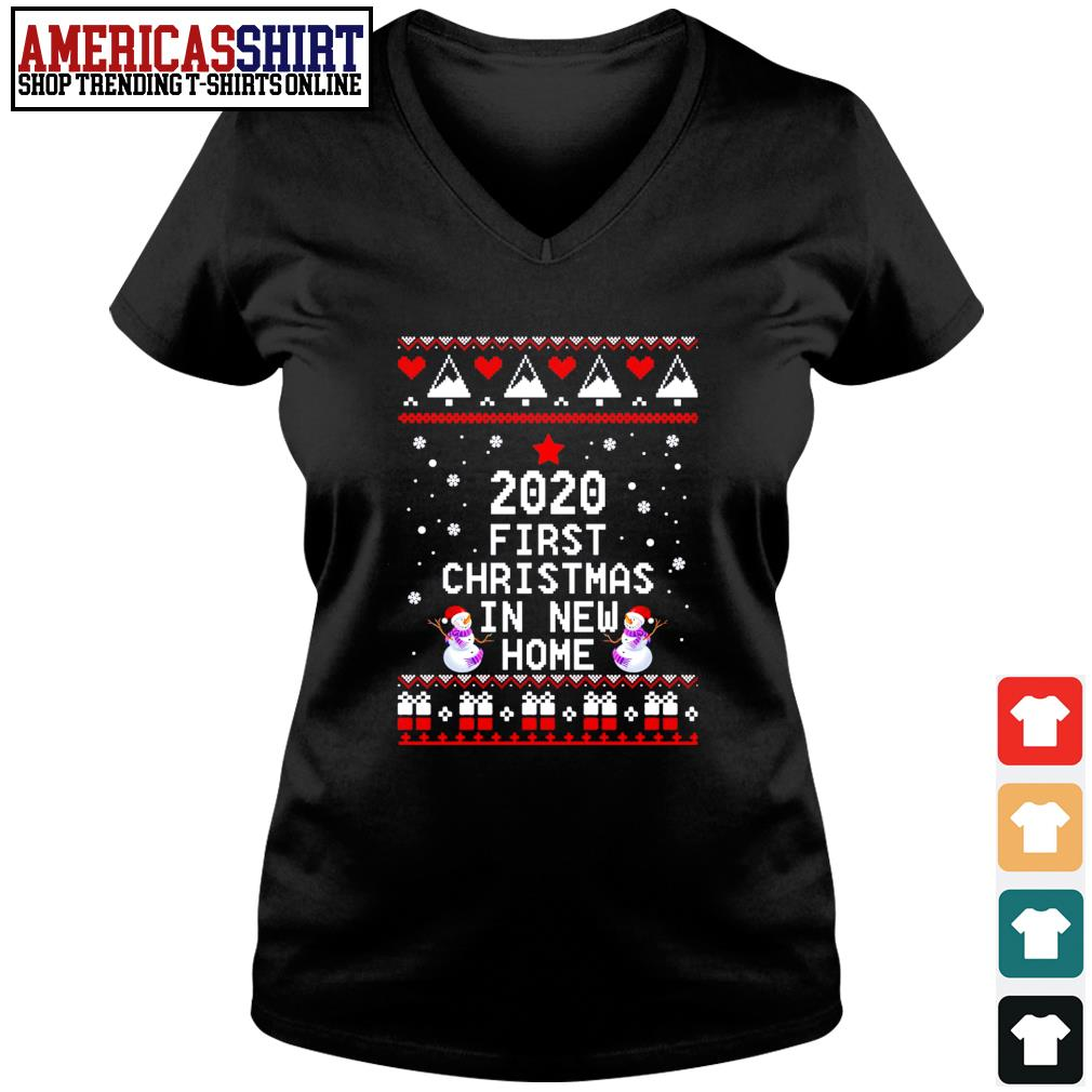 2020 first Christmas in new home ugly Christmas s v-neck t-shirt