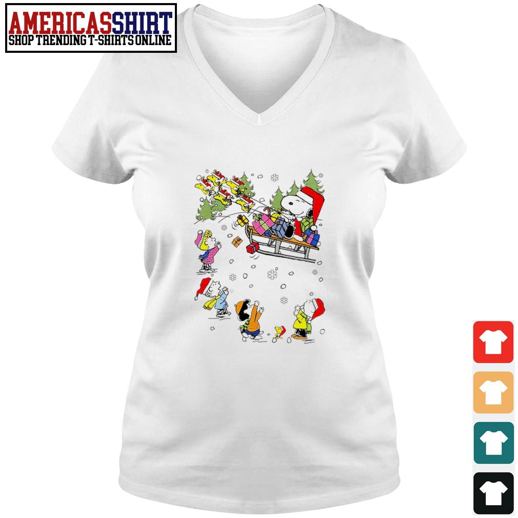 Santa Snoopy and Woodstock Reindeer and Peanuts characters Christmas s v-neck t-shirt