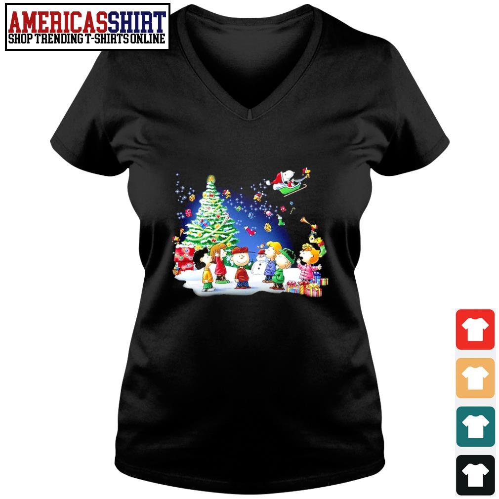 Snoopy Santa Claus Peanuts characters Christmas s v-neck t-shirt