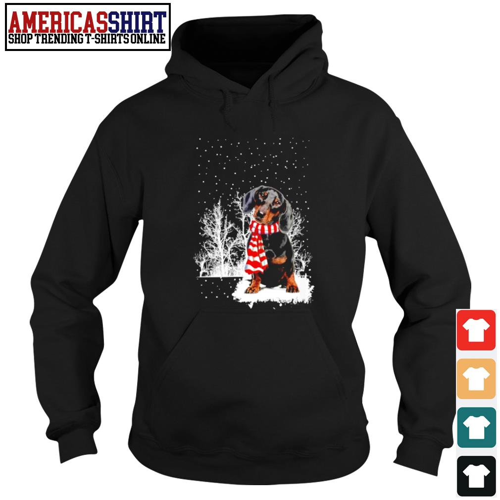 Snow Scarf Dachshund Merry Christmas s hoodie