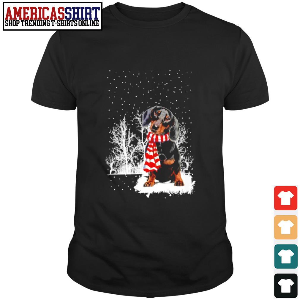Snow Scarf Dachshund Merry Christmas shirt