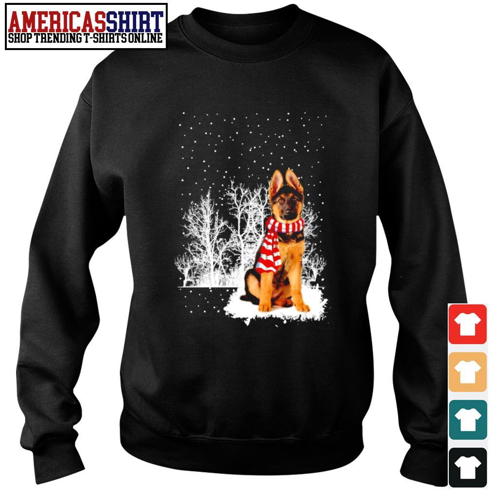 Snow Scarf German Shepherd Merry Christmas s sweater