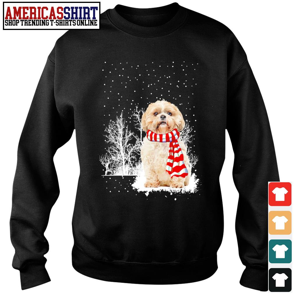 Snow Scarf Shih Tzu Merry Christmas s sweater