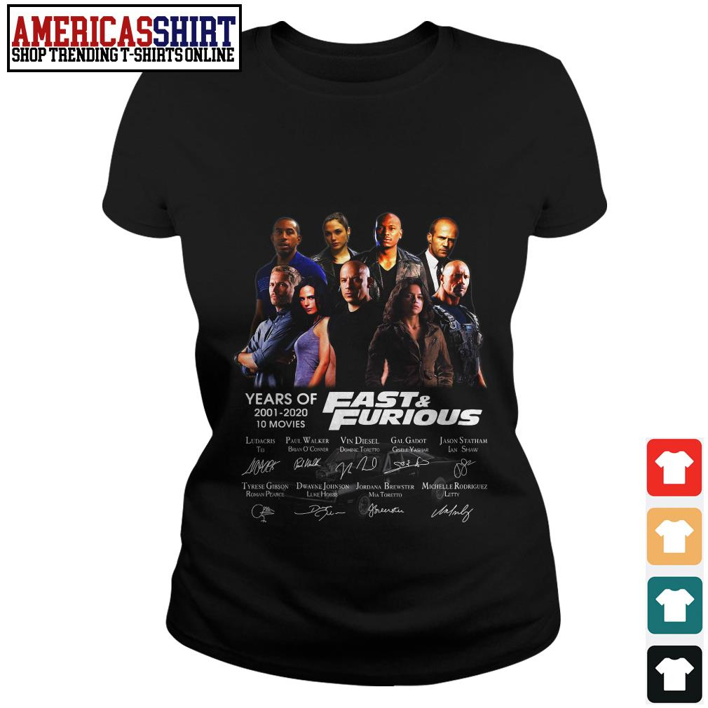 19 years of Fast and Furious 2001 2020 10 movies signature Ladies Tee