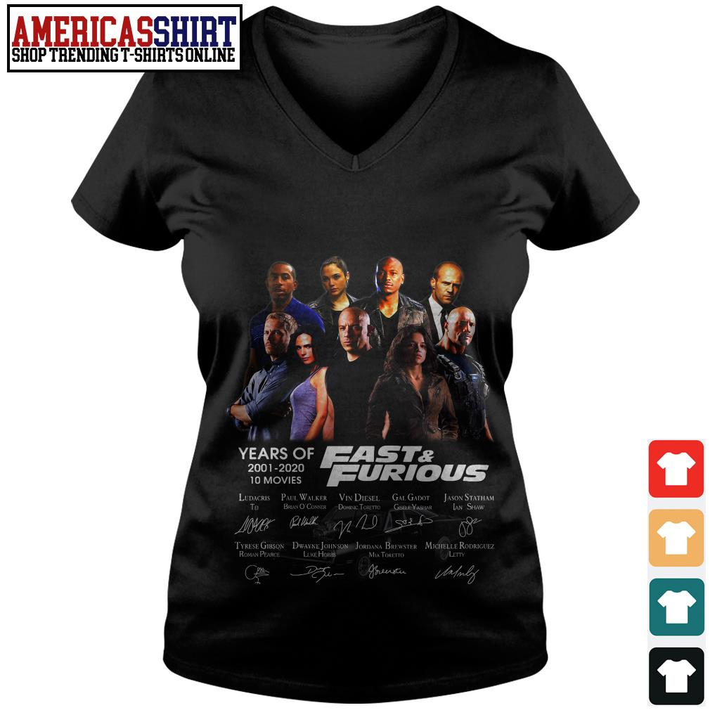 19 years of Fast and Furious 2001 2020 10 movies signature V-neck T-shirt
