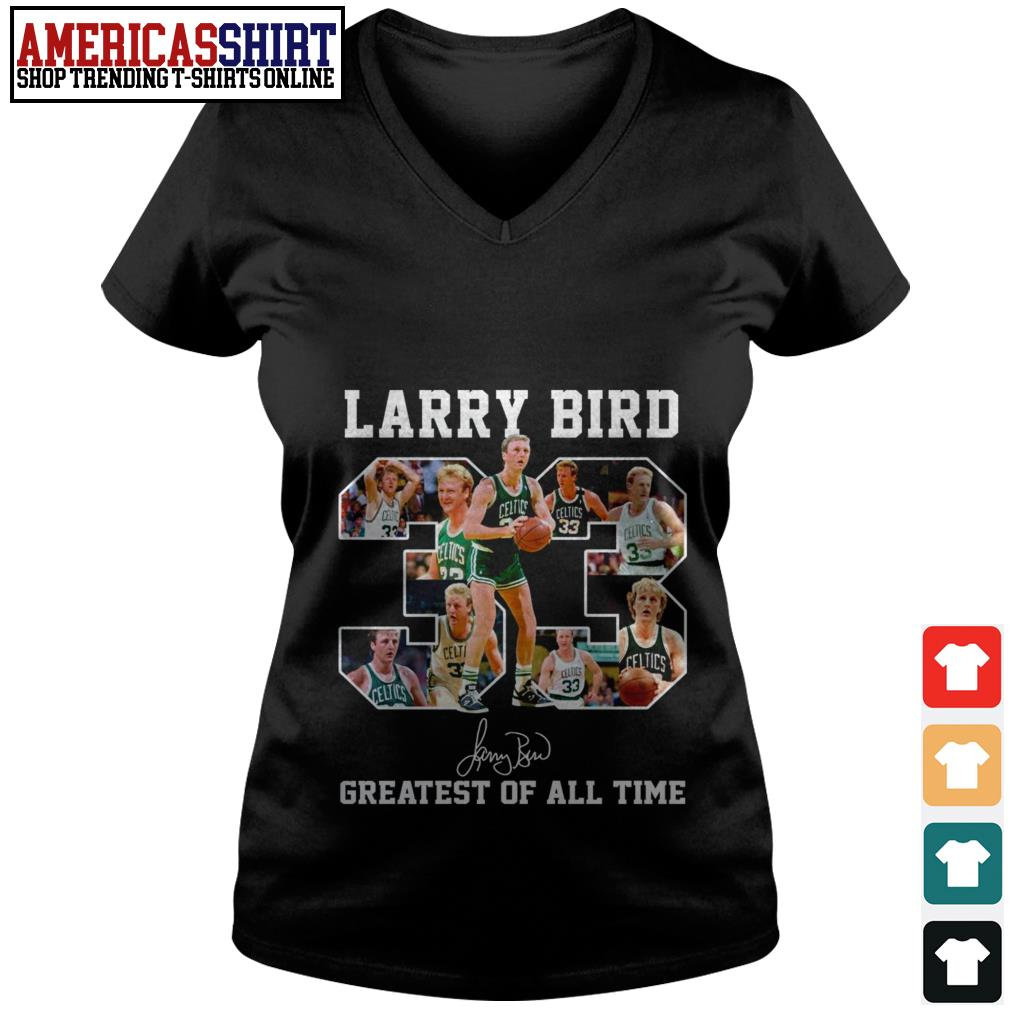 33 Larry Bird greatest of all time signature V-neck T-shirt