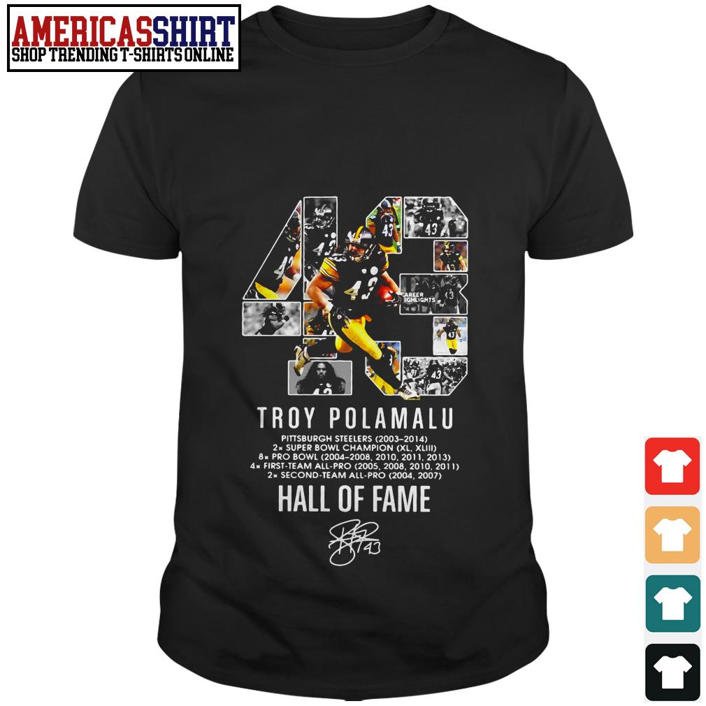 43 Troy Polamalu hall of fame signature shirt