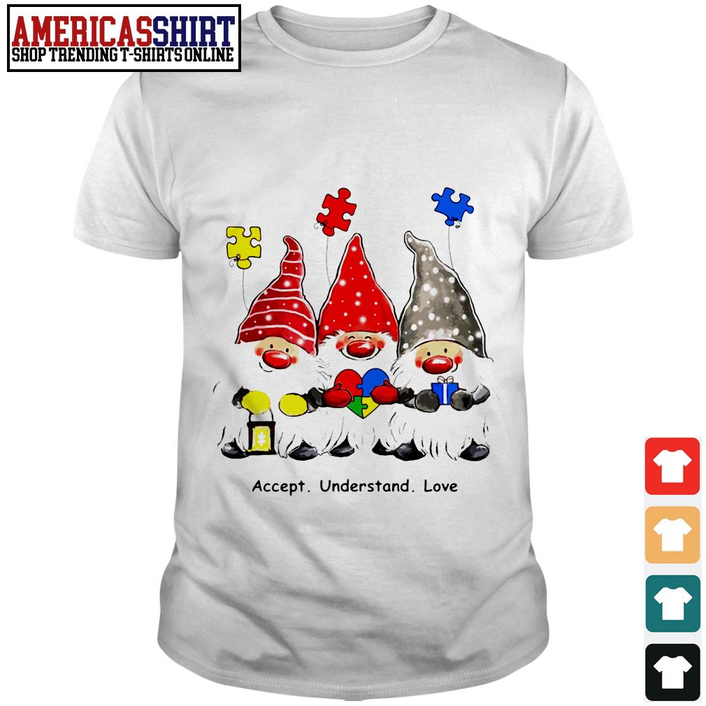 Accept understand love plush gnome Autism Awareness Christmas shirt