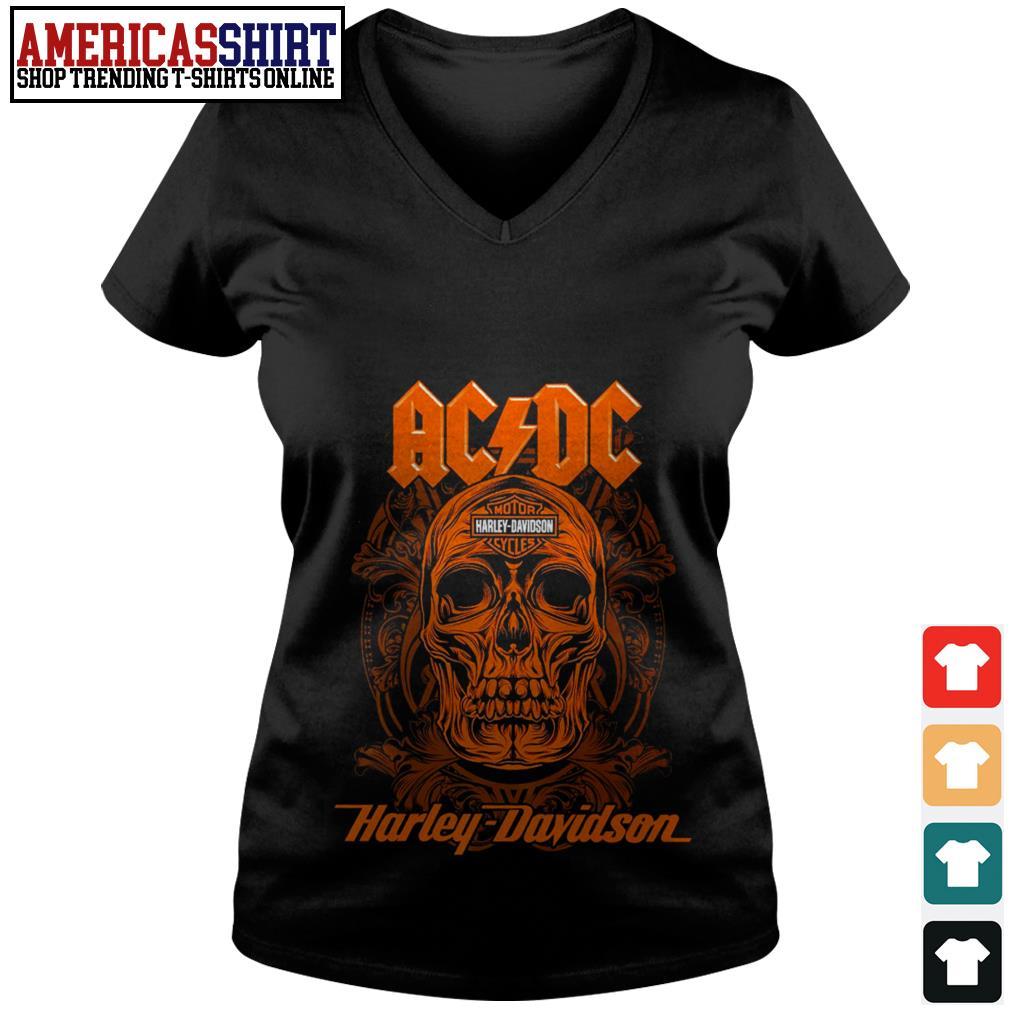 ACDC band skull Motor Harley Davidson V-neck T-shirt