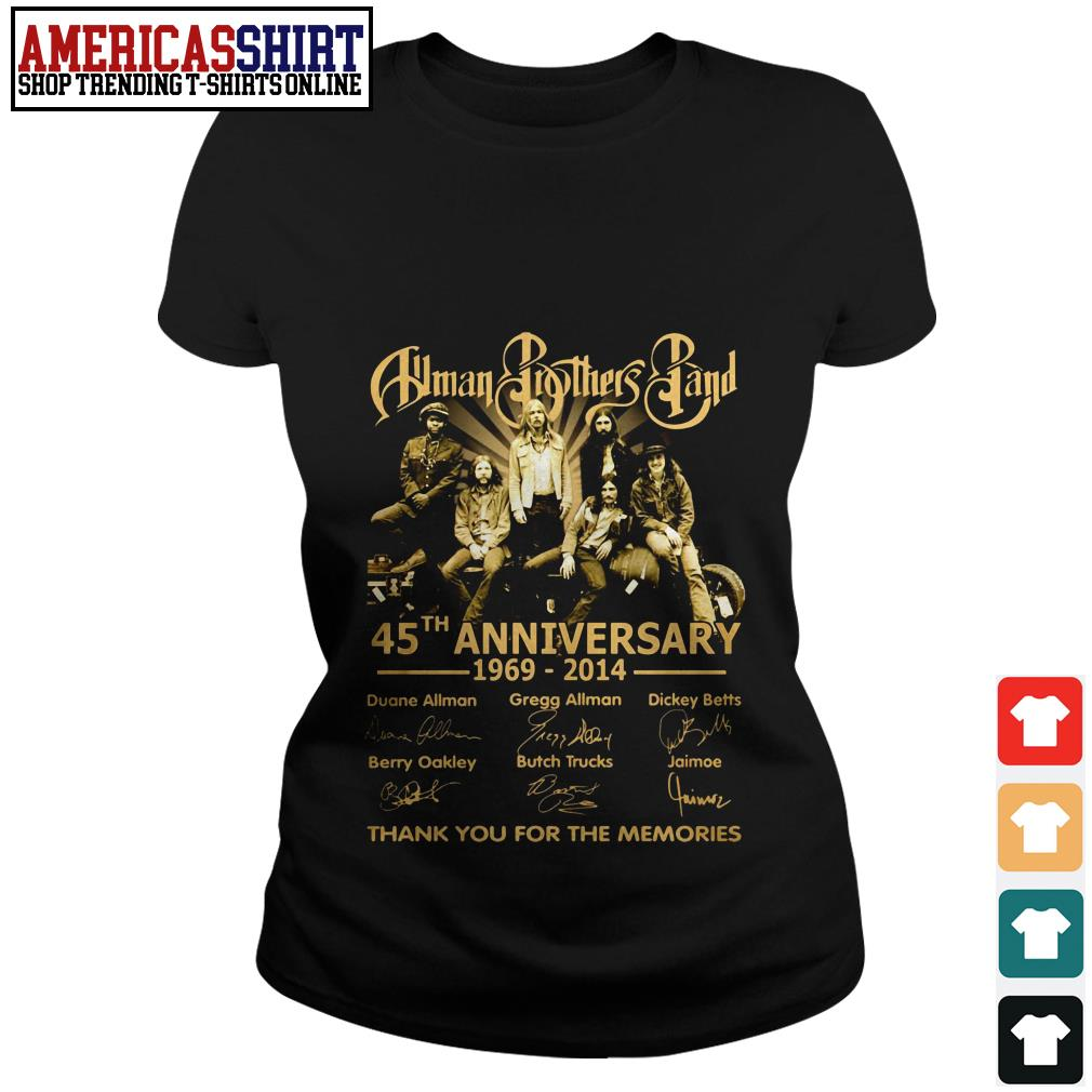 Allman Brothers Band 45th anniversary 1969 2014 thank you for the memories Ladies Tee