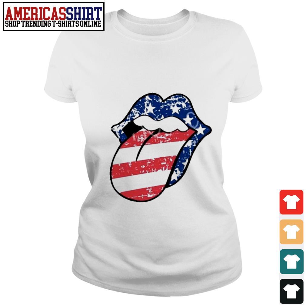 American flag mouth Ladies Tee