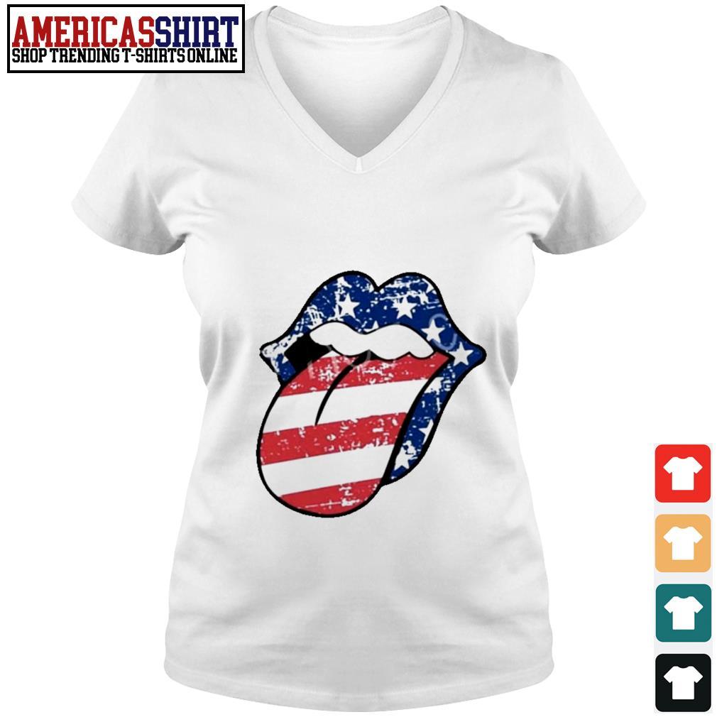 American flag mouth V-neck T-shirt