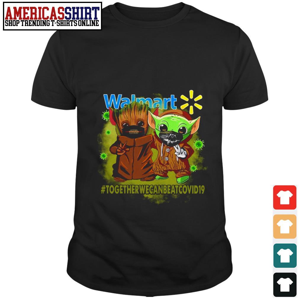 Baby Groot and Baby Yoda face mask Star Wars Darth Vader Walmart together we can beat Covid 19 shirt