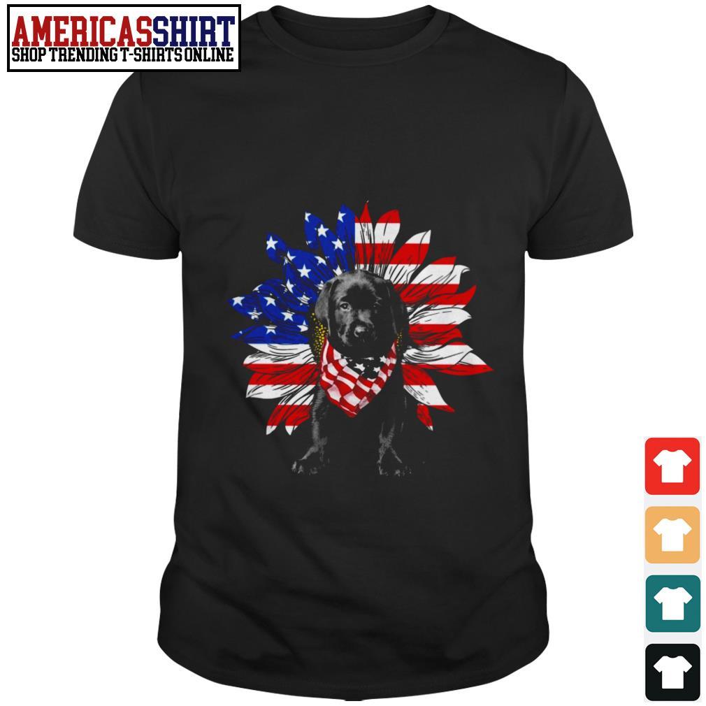 Baby Labrador Retriever sunflower American flag shirt