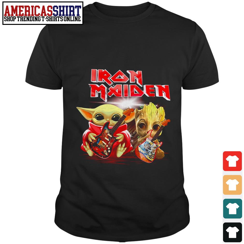 Baby Yoda and Baby Groot playing guitar Iron Maiden shirt