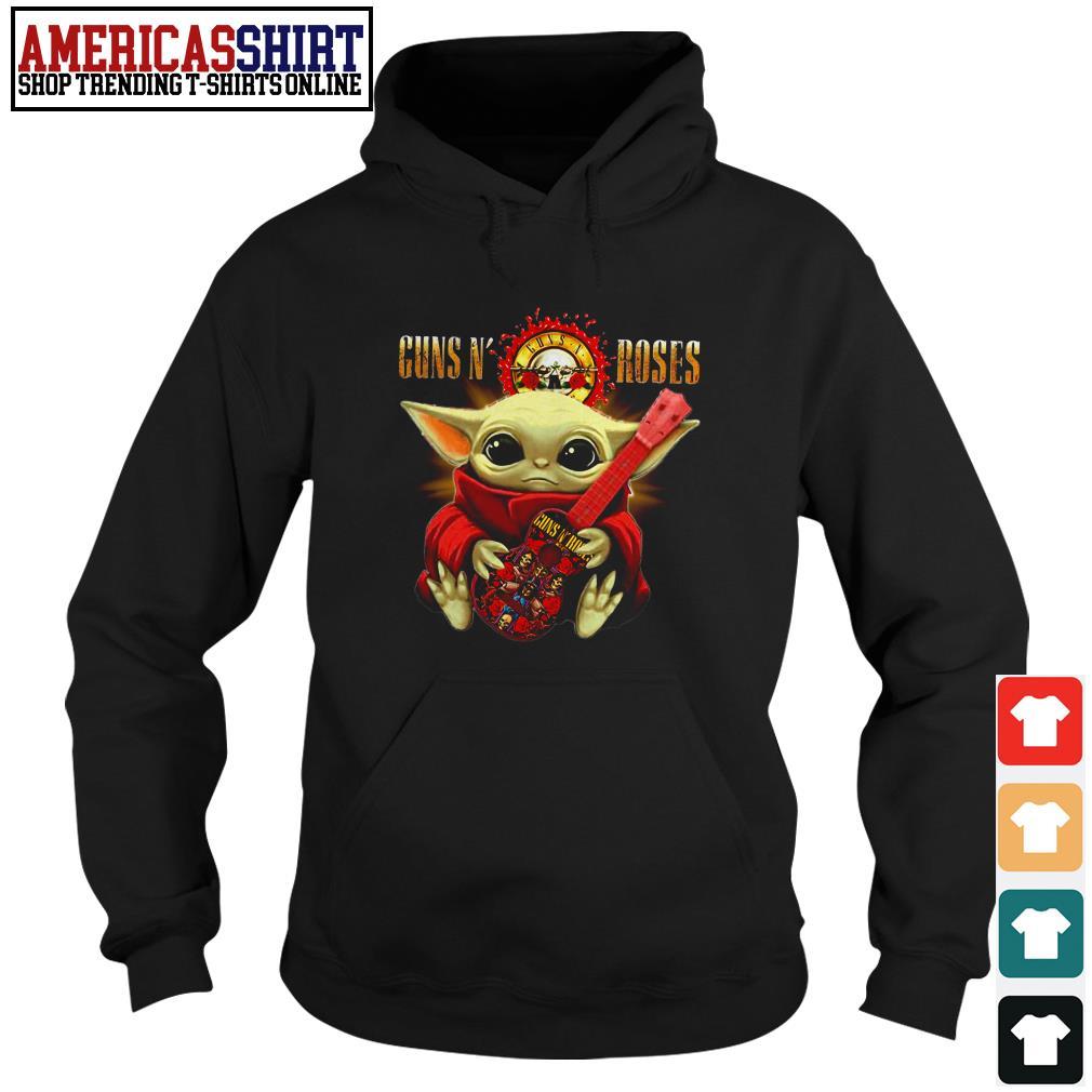 Baby yoda hug Guns N' Roses guitar Hoodie