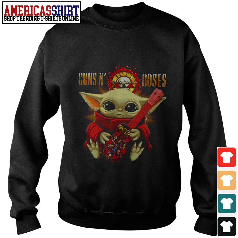 Baby yoda hug Guns N' Roses guitar Sweater