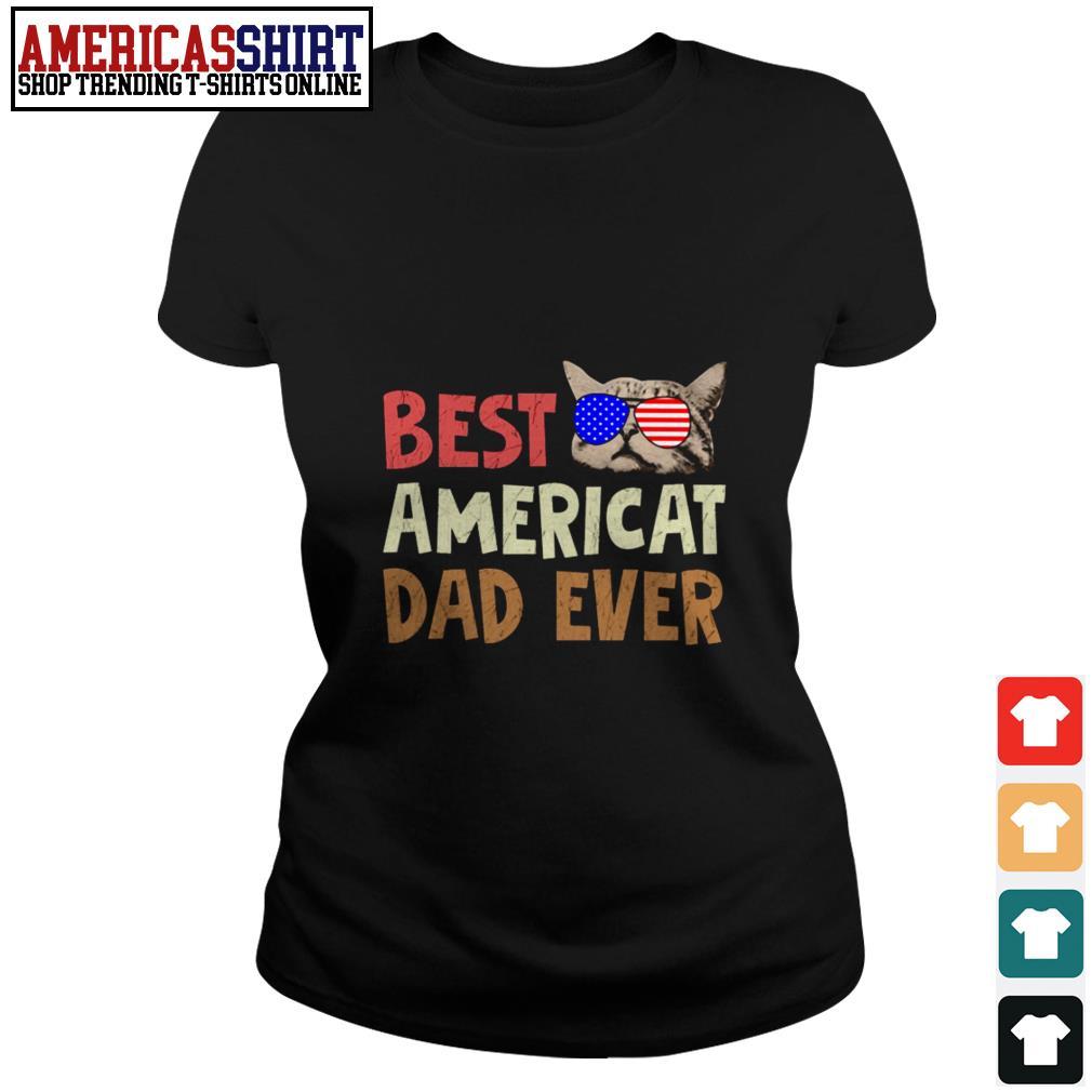 Best American dad ever American flag glasses Ladies Tee