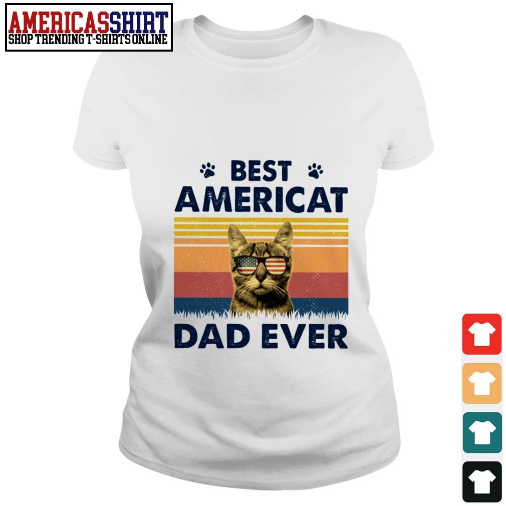 Best Americat dad ever American flag vintage Ladies Tee