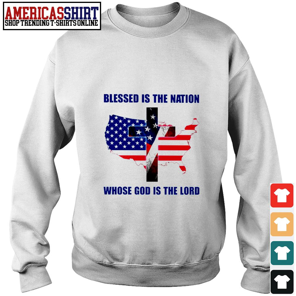 Blessed is the nation whose God is the lord American flag 4th Of July Sweater