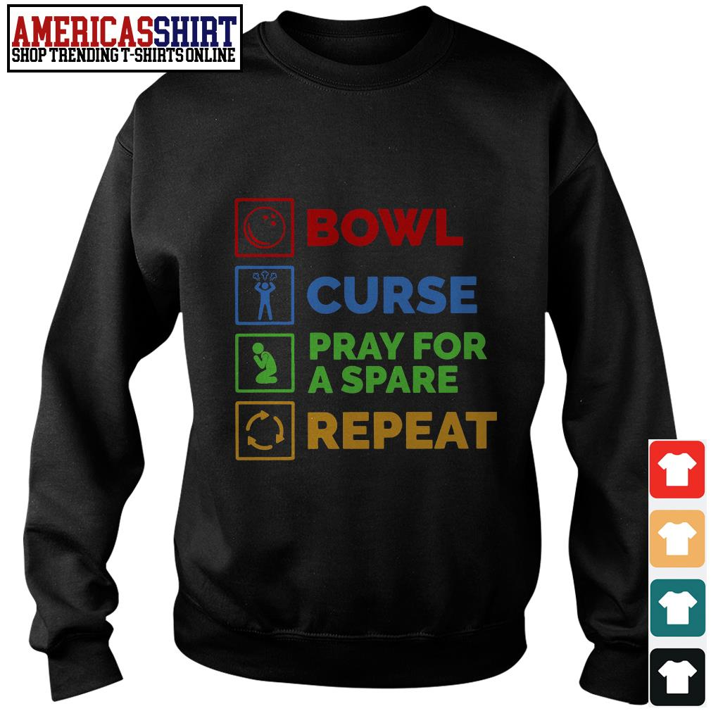 Bowl curse pray for a spare repeat Bowling Sweater