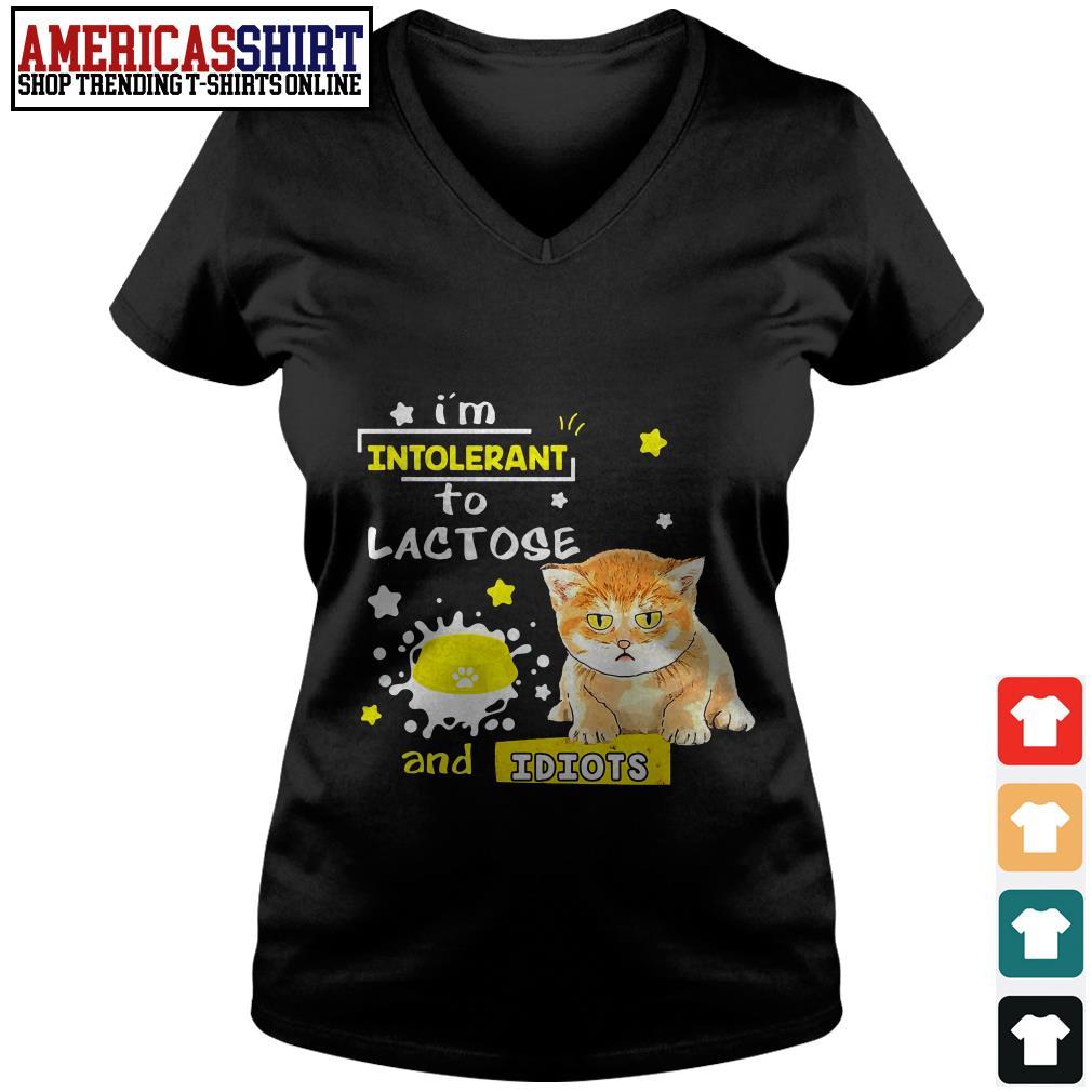 Cat I'm intolerant to lactose and idiots V-neck T-shirt