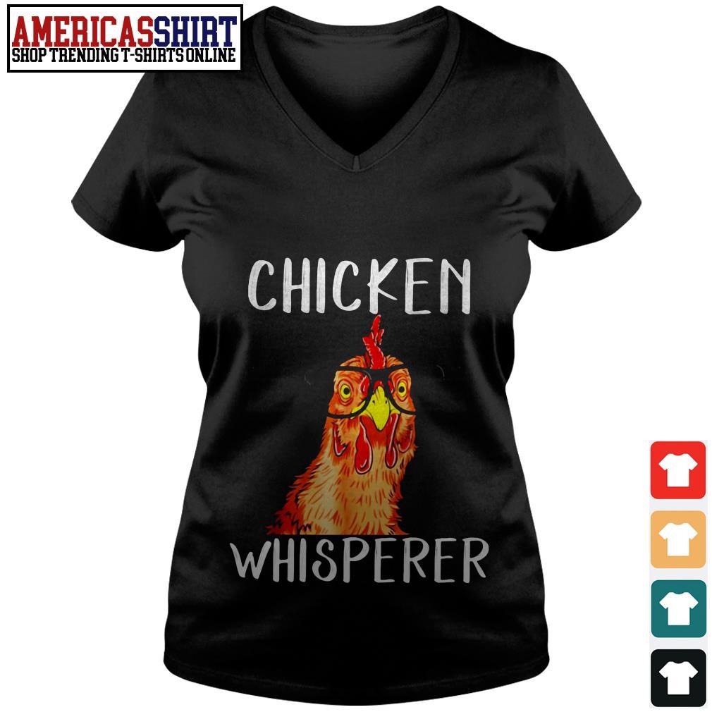 Chicken whisperer wearing glasses V-neck T-shirt