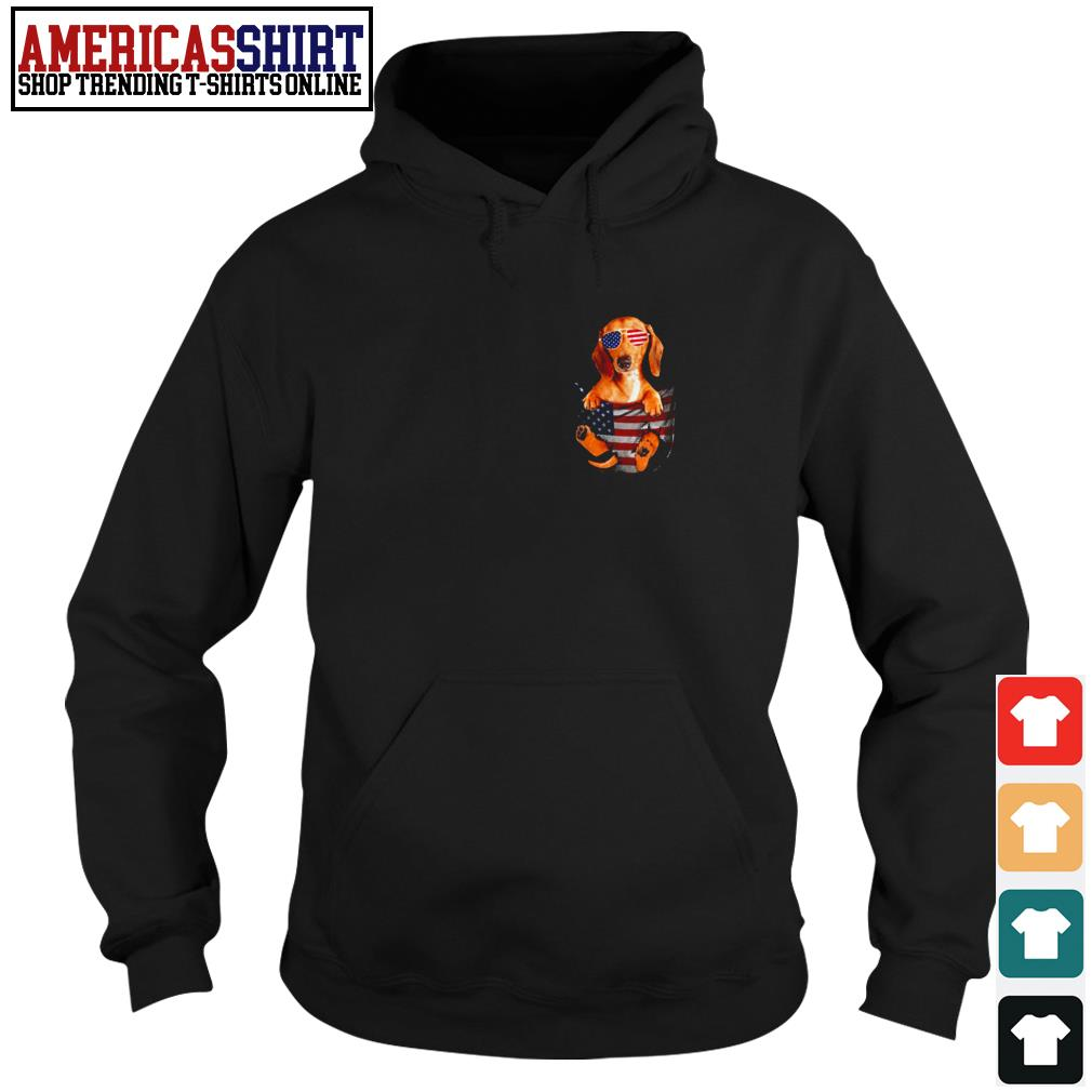 Dachshund in pocket American flag 4th Of July Hoodie