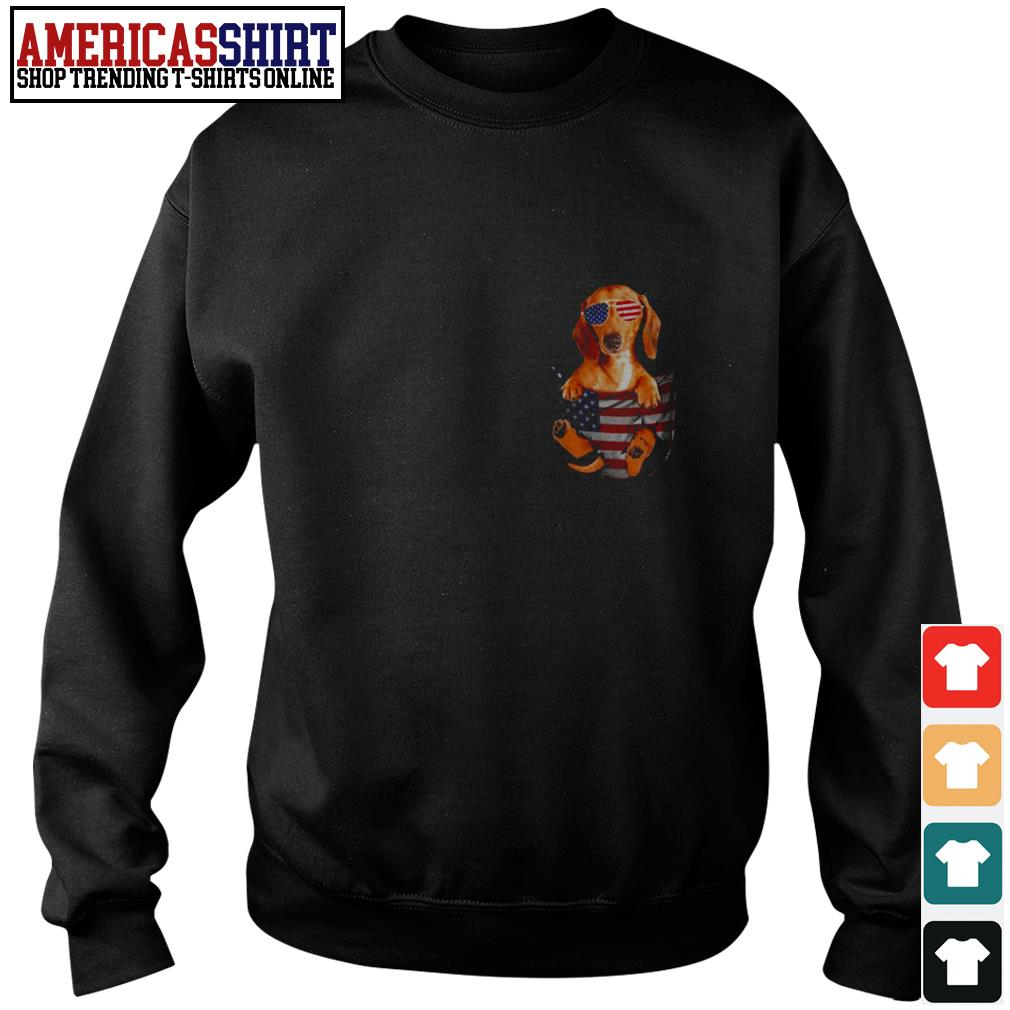 Dachshund in pocket American flag 4th Of July Sweater