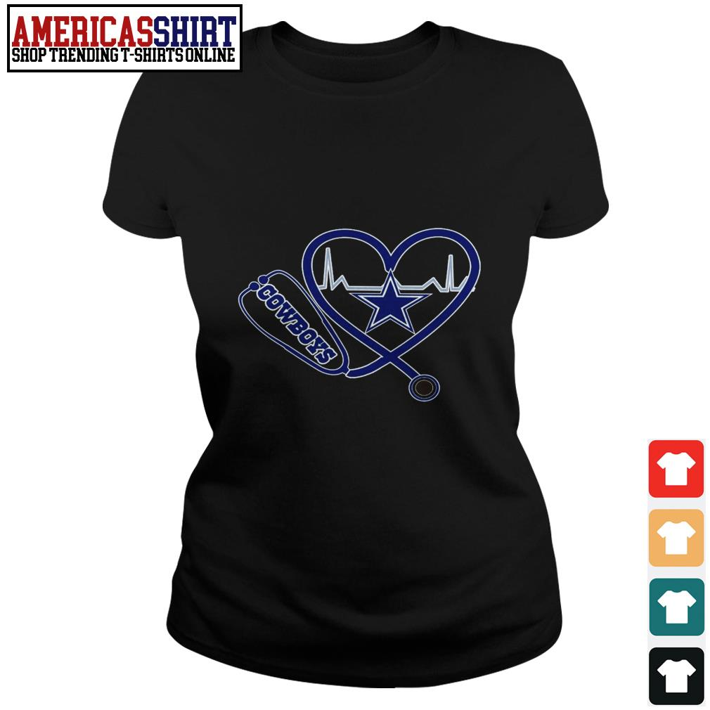 Dallas Cowboys Stethoscope heart Ladies Tee