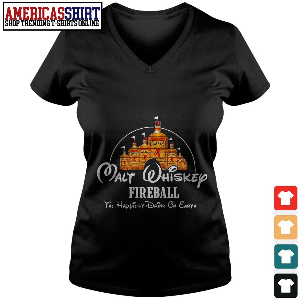 Disney Malt Whiskey Fireball the happiest drink on earth V-neck T-shirt