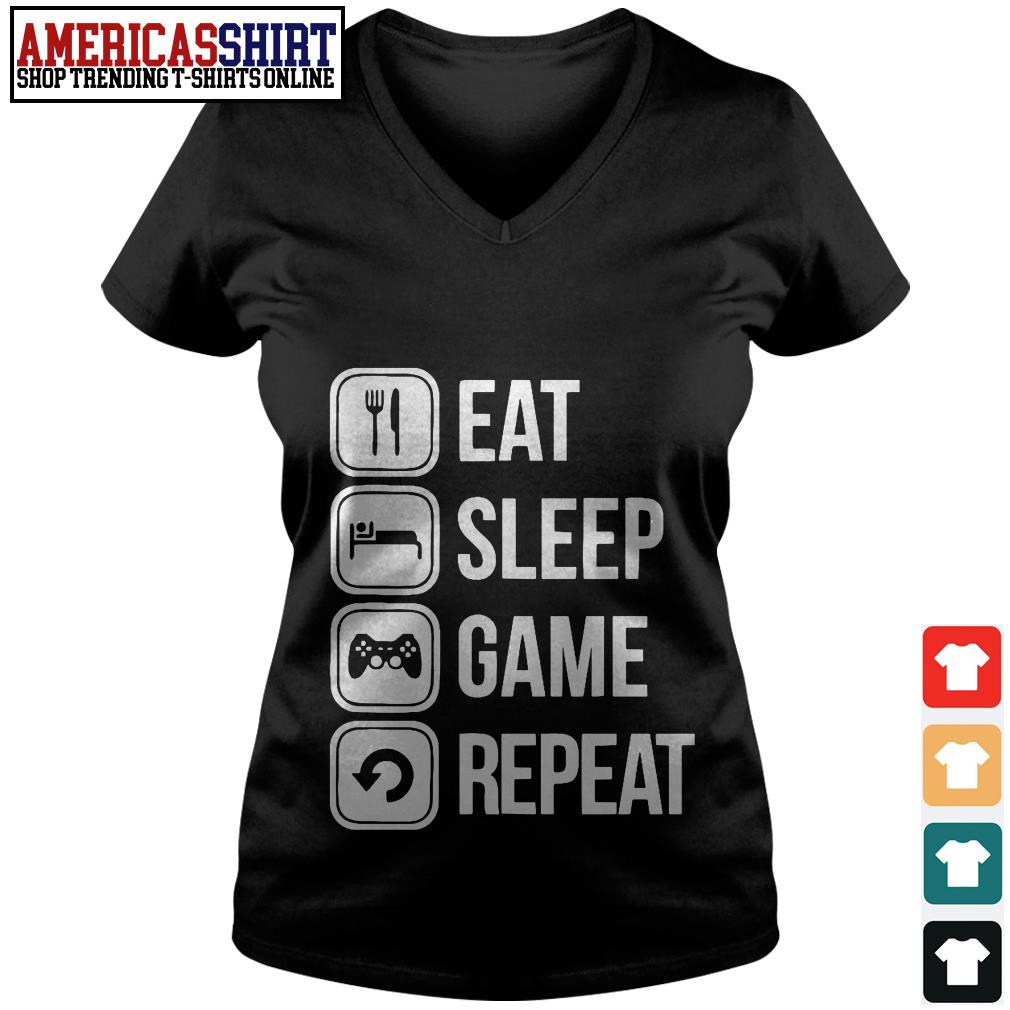 Eat sleep game repeat V-neck T-shirt