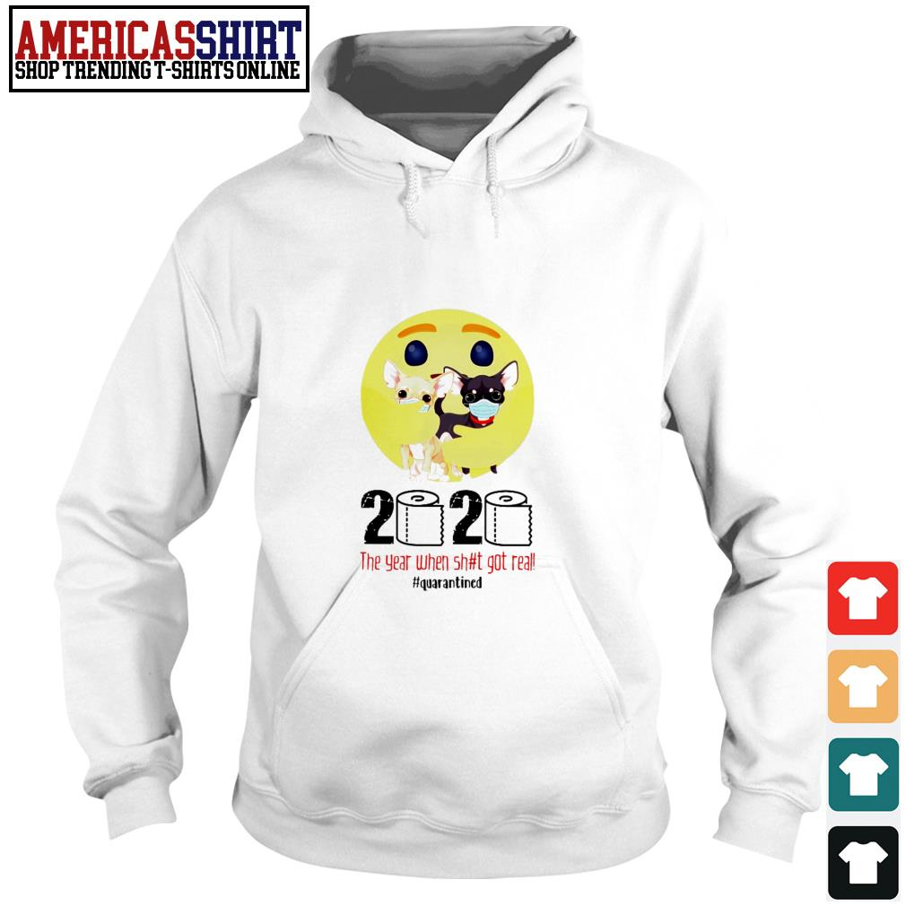 Emoticon hug Chihuahua 2020 the year when shit got real quarantined Hoodie