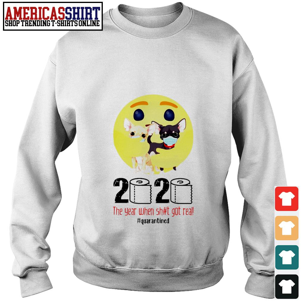 Emoticon hug Chihuahua 2020 the year when shit got real quarantined Sweater