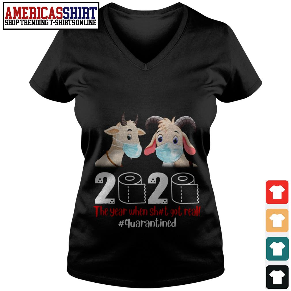 Goat mask 2020 the year when shit got real quarantined V-neck T-shirt