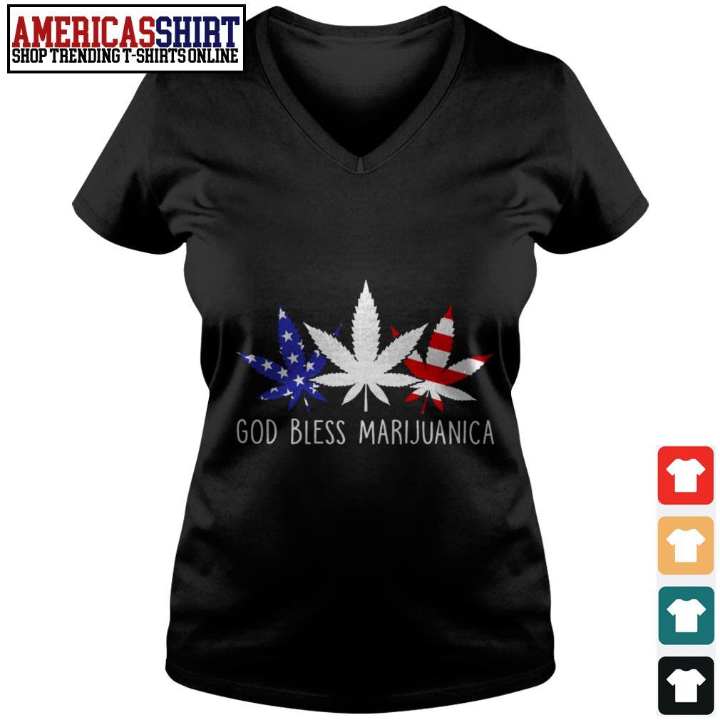 God bless marijuanica American flag V-neck T-shirt