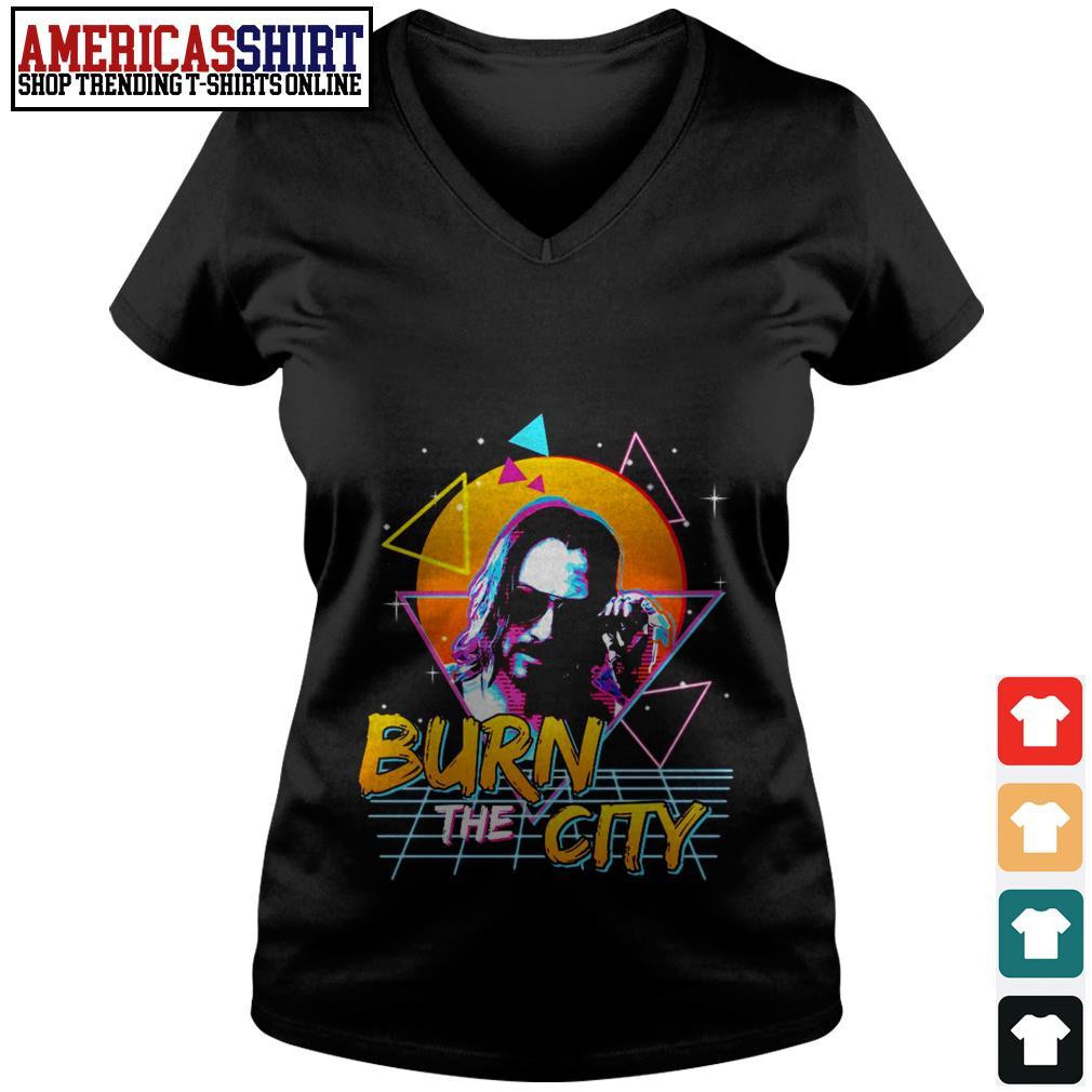John Wick Cyberpunk 2077 burn the city V-neck T-shirt