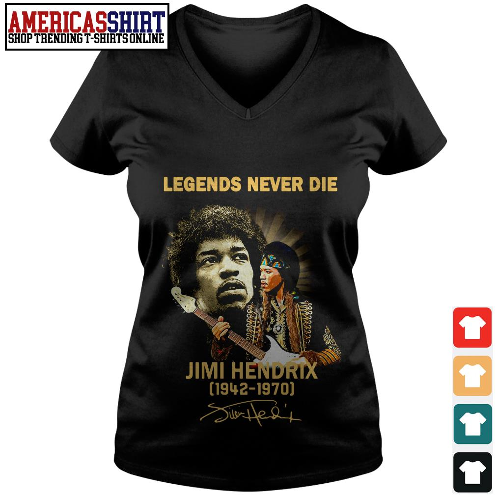 Legends never die Jimi Hendrix 1942 1970 signature V-neck T-shirt