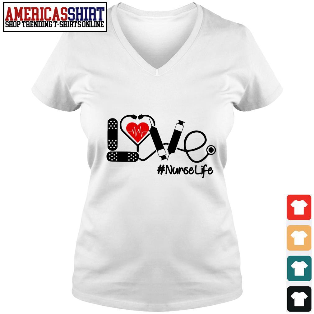 Love nurselife stethoscope V-neck T-shirt
