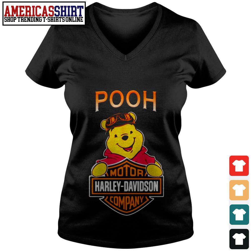 Pooh mashup motor Harley-Davidson company V-neck T-shirt