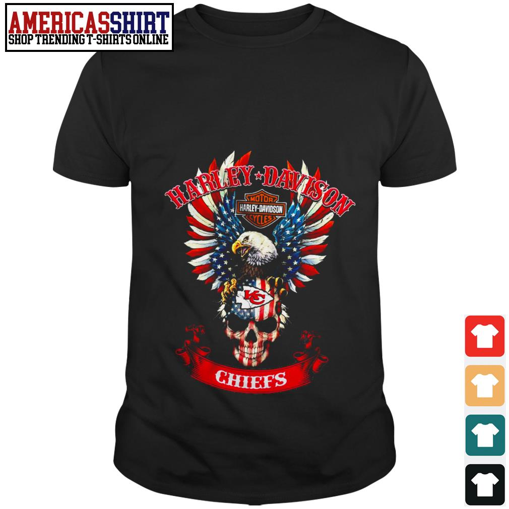 Skull American flag Harley Davidson Motorcycle Kansas City Chiefs shirt